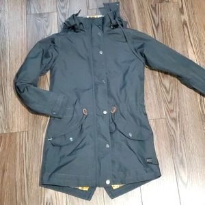 MEC Grey Hooded long lightly quilted coat